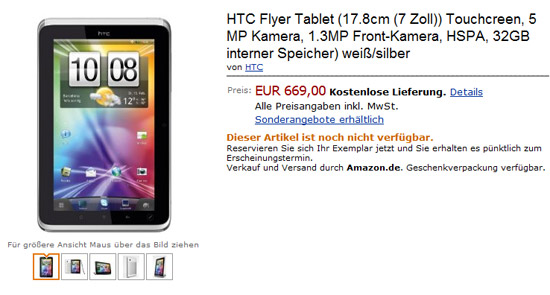 HTC Flyer Tablet Amazon.de