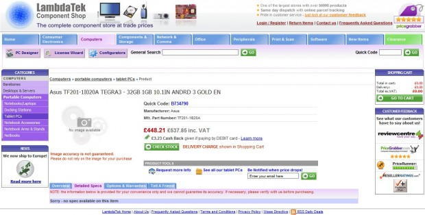 Asus Eee Pad Transformer 2 UK Online Shop