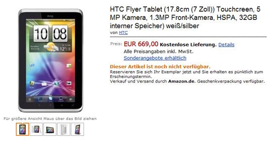HTC Flyer Tablet Amazon.de